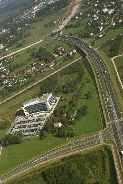 Budowa łącznika do autostrady, Rondo J. Kuronia. Fot. Irena Gałuszka.
