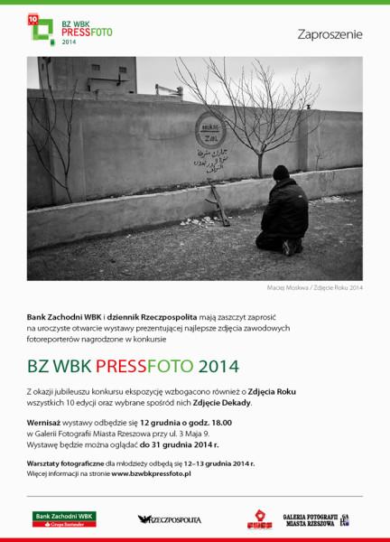 Zaproszenie na wernisaż wystawy BZ WBK Press Foto 2014